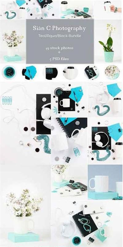 CreativeMarket - Teal Aqua Black Stock Photo Bundle